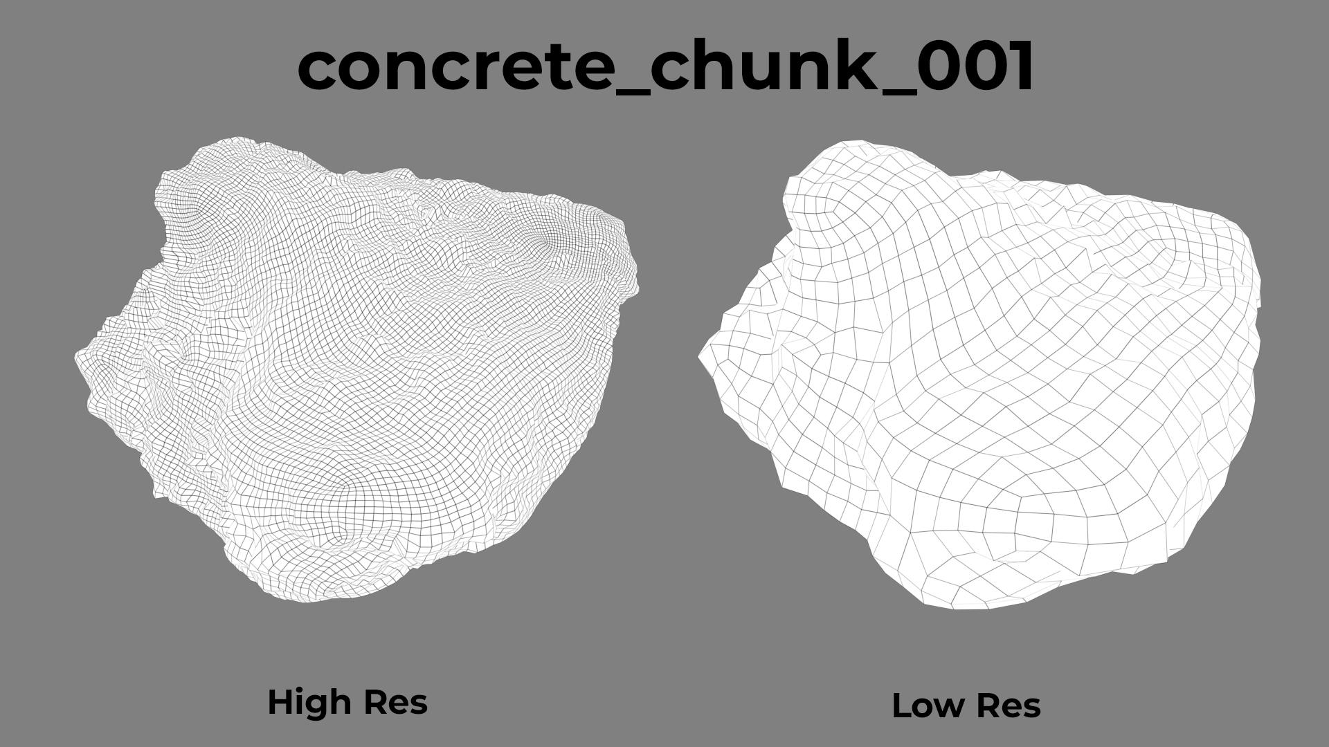 concrete chunk 001 wireframe